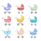 Ilustración de Amarillo Moderno Cochecito De Bebé Alto Diseño Retro y más Vectores Libres de Derechos de Amarillo Color