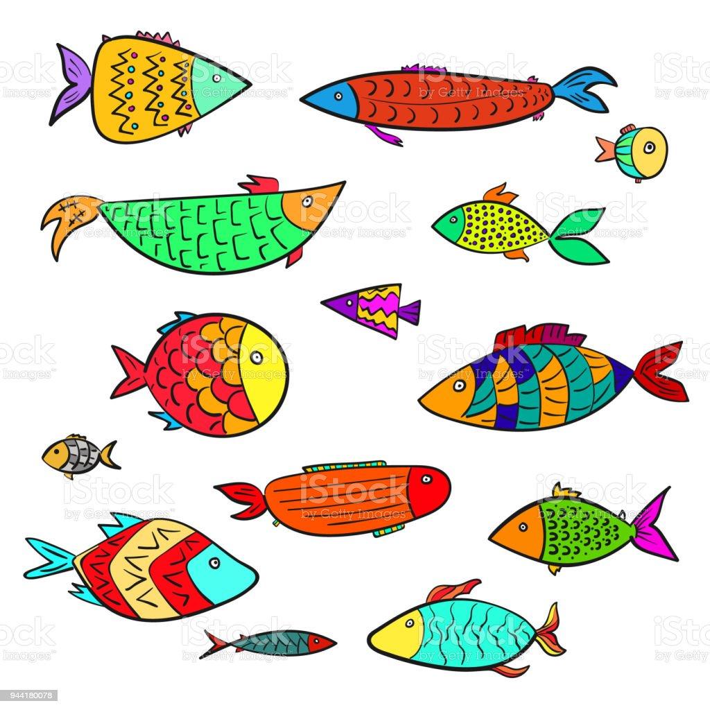 Vetores De Conjunto De Peixes De Aquario Bonito Dos Desenhos