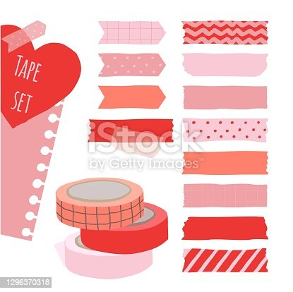 Set of cute colorful hand drawn masking tape, blank tags label stickers with patterns in red and pink colors as design elements for decoration valentine card. Vector illustration