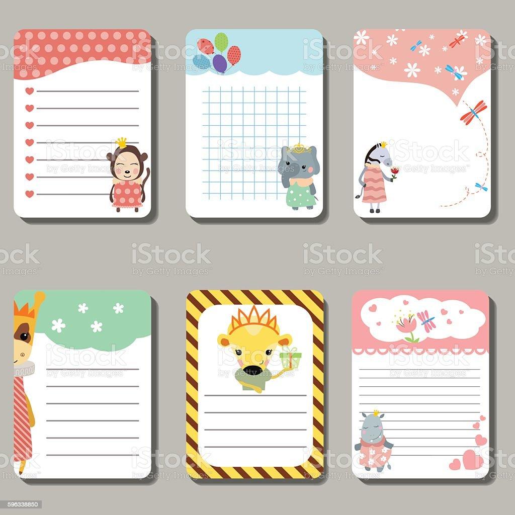 Set of cute creative cards with animals dressed as princess. Lizenzfreies set of cute creative cards with animals dressed as princess stock vektor art und mehr bilder von bildhintergrund