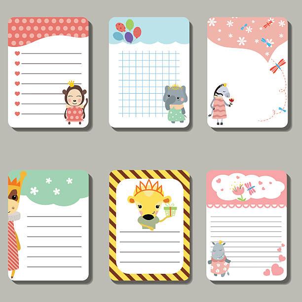 set of cute creative cards with animals dressed as princess. - giraffenkostüm stock-grafiken, -clipart, -cartoons und -symbole