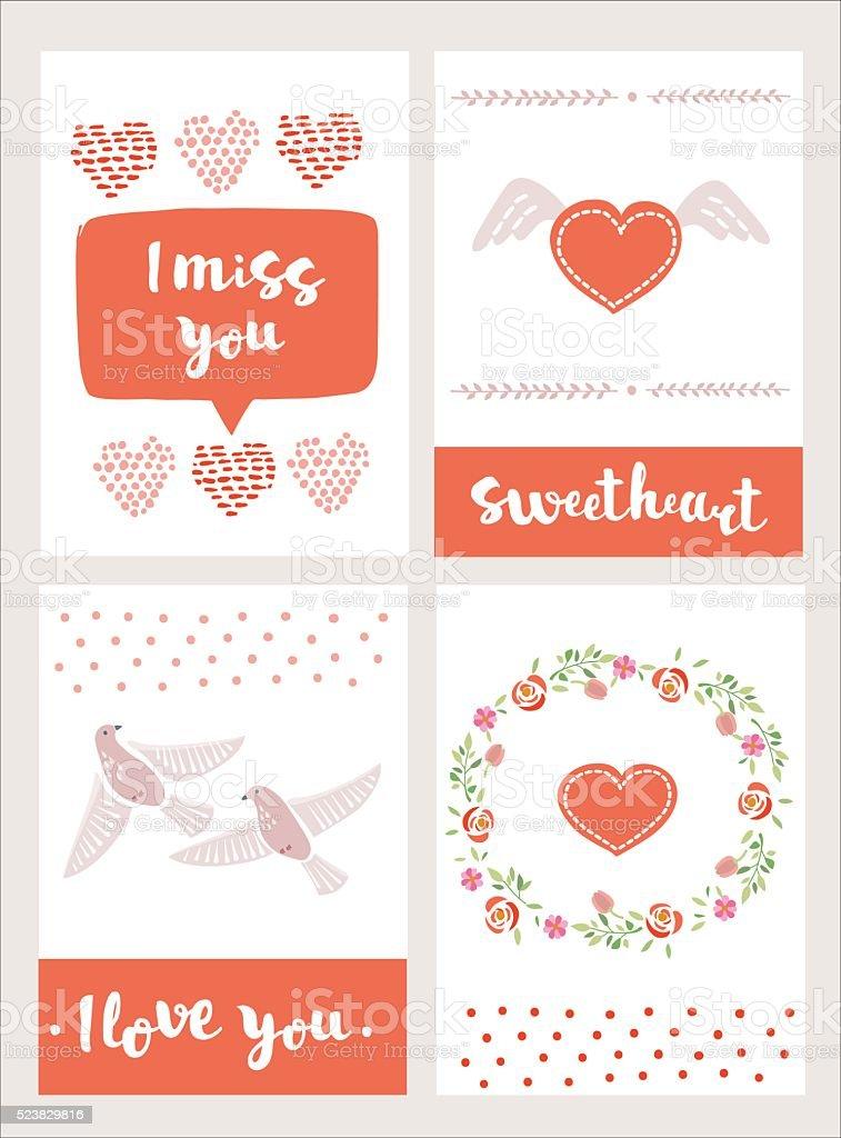 Ilustración De Lindo Conjunto De Tarjetas Creativas Con Amor Diseño