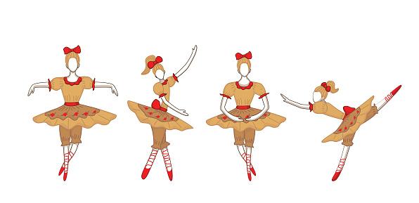 Set of cute dancing cartoon Ballerina characters in yellow ballet skirts.