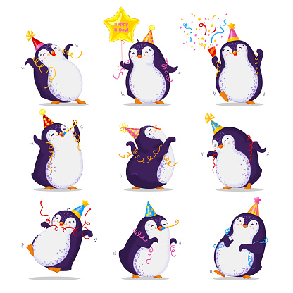 Set of cute dancing penguins in different poses and birthday caps. Happy Birthday greetings.  Vector illustration in cartoon style. All elements are isolated.