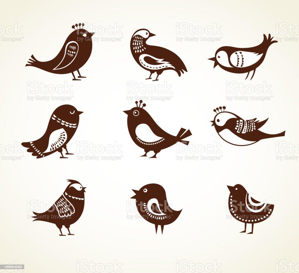 set of cute decorative birds royalty-free stock vector art