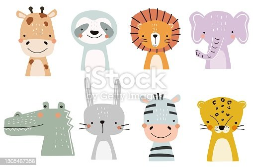 Set of cute designer animals on white background. Vector illustration for printing on fabric, postcard, wrapping paper, book, picture, Wallpaper. Cute baby background.