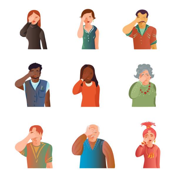 ilustrações de stock, clip art, desenhos animados e ícones de set of cute different people facepalm, stress situation - deceção