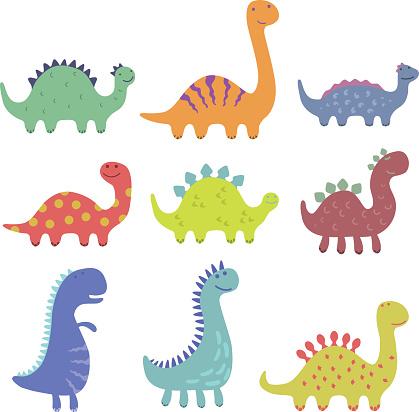 Set of cute dinosaur illustrations