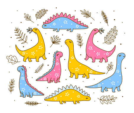 Set of cute dinosaurs - cartoon characters for happy children design