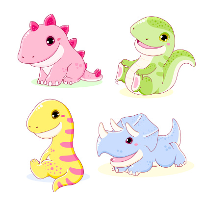Set of cute dinosaurs - stegosaurus, tyrannosaurus, diplodocus, triceratops