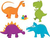 A set of vector illustrations of cute dinosaurs: an apatosaurus (brontosaurus), tyrannosaurus rex (t-rex), stegosaurus, triceratops and a collection of dinosaur eggs. Objects are grouped and layered for easy editing. Files included: EPS10 and large high res JPG.