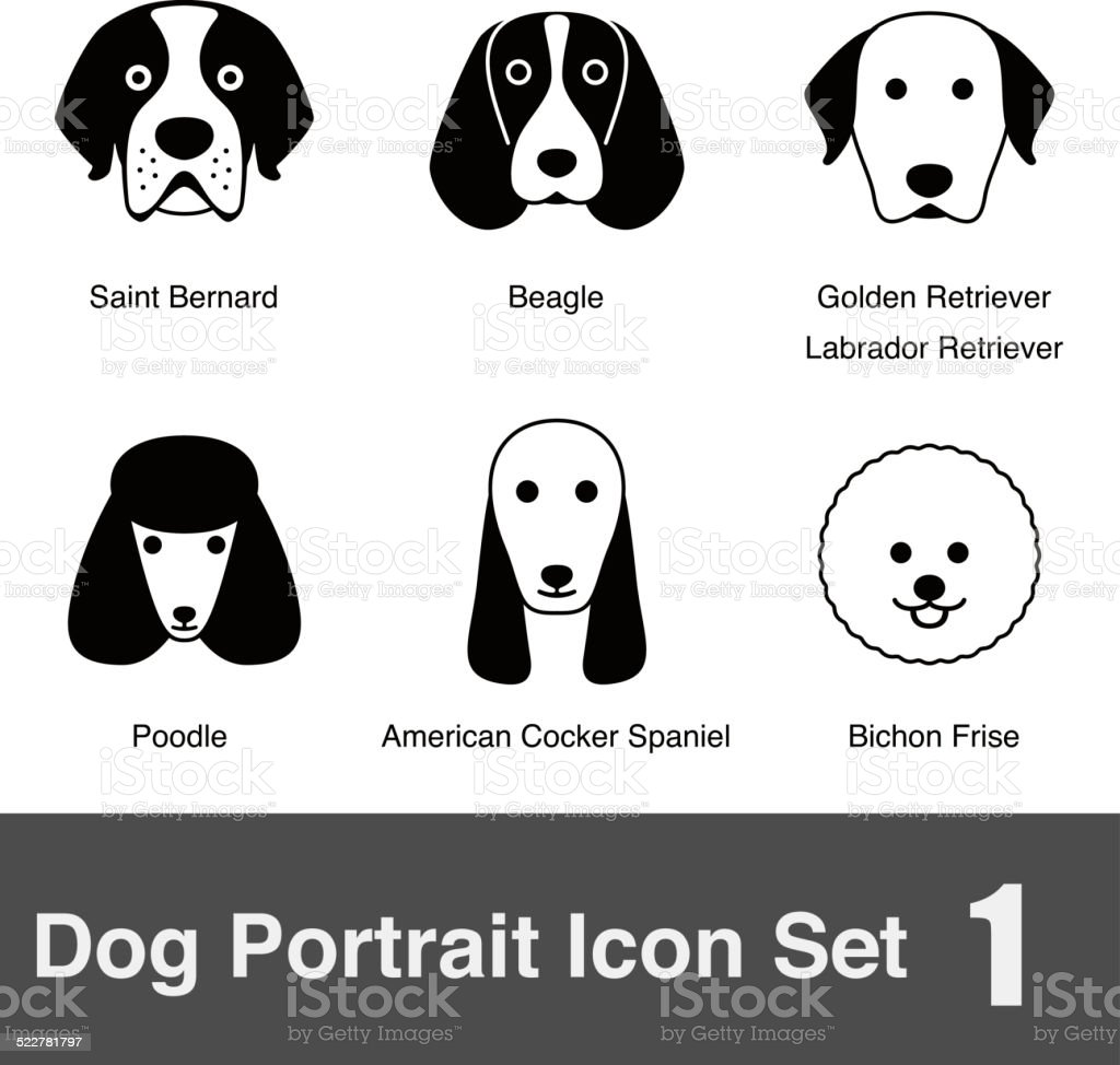 set of cute dog face icons, vector illustration vector art illustration