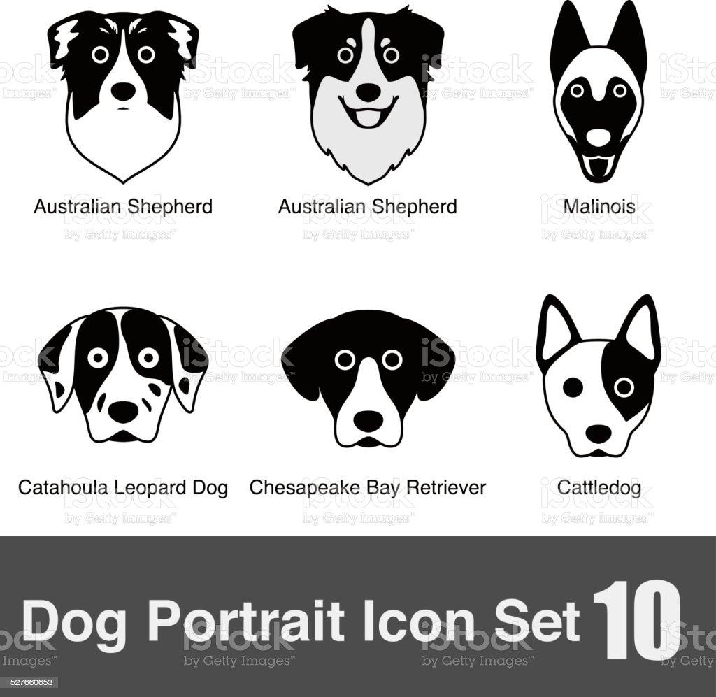 set of cute dog face icons, vector illustration vector art illustration