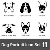 set of cute dog face icons, vector illustration, all dog breeds