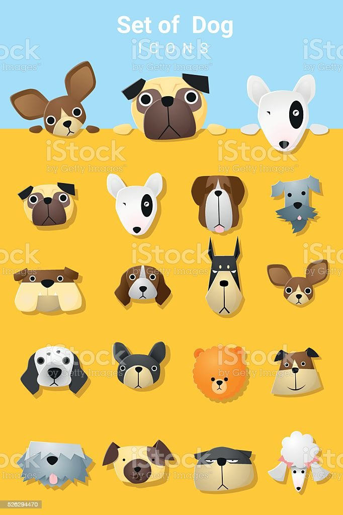 Set of cute dog icons vector art illustration