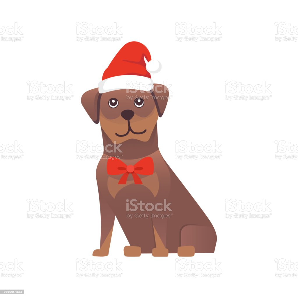 Set Of Cute Dogs In Red Santas Hat Christmas Puppy Winter Cartoon Illustration Stock Illustration Download Image Now Istock