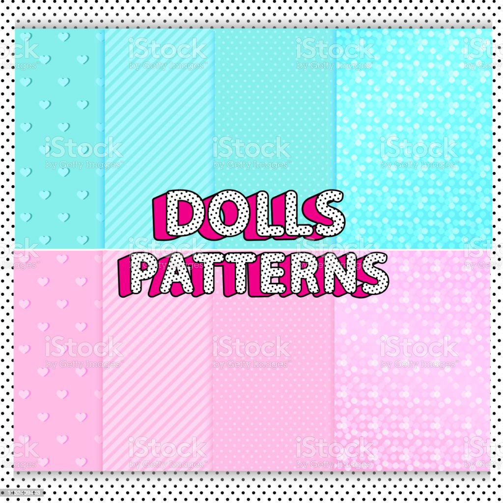 Set Of Cute Dolls Vector Patterns Printable A4 Sheets