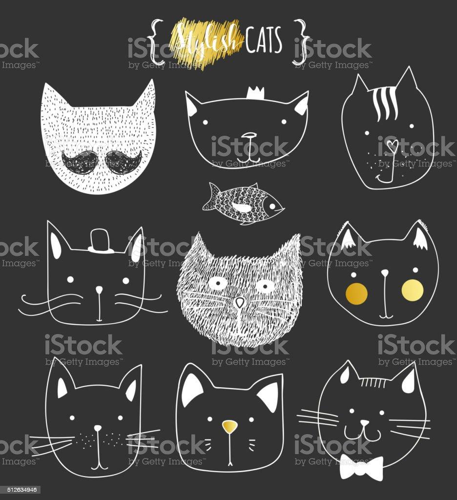 Set of cute doodle cats. Sketch cat. Cat handmade print vector art illustration