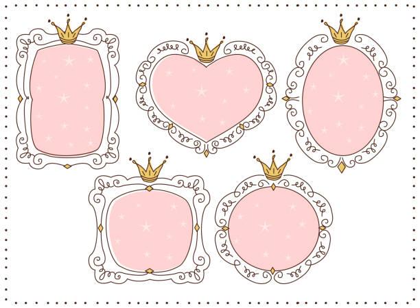 illustrazioni stock, clip art, cartoni animati e icone di tendenza di set of cute doodle mirrors. princess vector element of design. pink frames with crown, tiara. - principessa