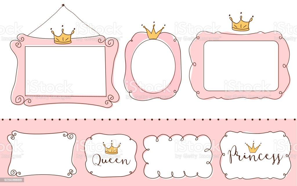 Set Of Cute Doodle Mirrors Princess Vector Element Of Design Pink ...