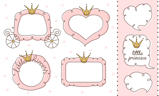 Set of cute doodle mirrors. Princess vector element of design. Pink frames with crown, tiara.