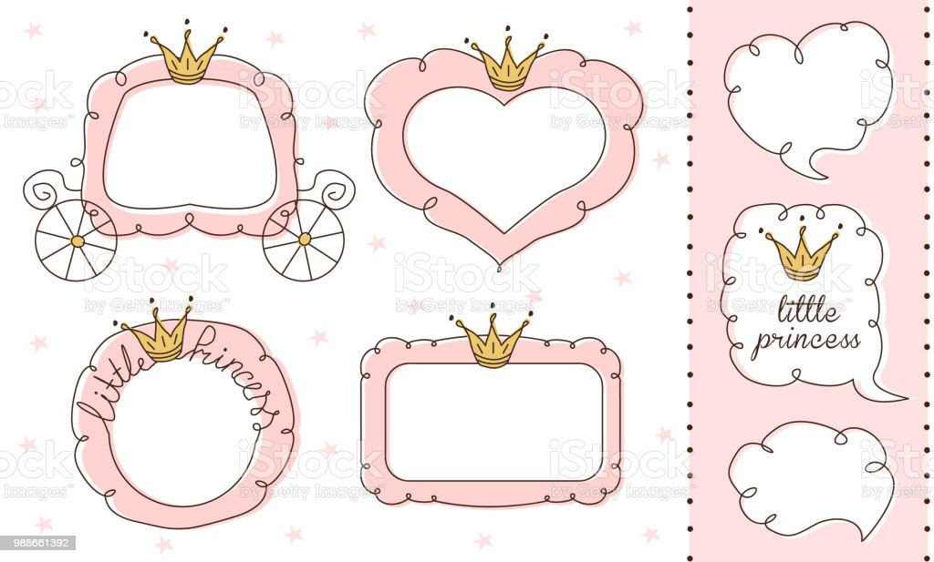 Set of cute doodle mirrors. Princess vector element of design. Pink frames with crown, tiara. vector art illustration