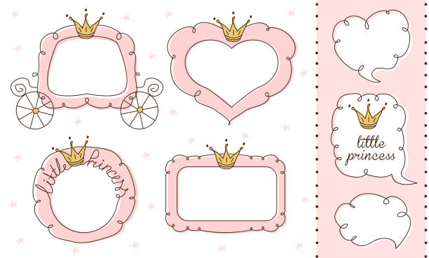 Set of cute doodle mirrors. Princess vector element of design. Pink frames with crown, tiara. Sketch hand drawn. Child's picture. Invitation birthday template. Baby shower girl card. Decorative border birthday borders stock illustrations