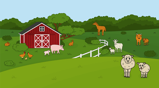 Set of cute doodle outline vector cartoon pet animals at the countryside farm. Sheep, ram, cow, bull calf chicken, rooster, goat mother and baby, pig rabbit hare, horse, fields forest, red barn house.