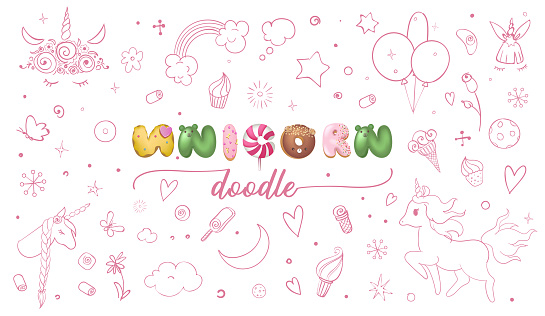 Set of cute doodle sketches for kids unicorn party. Hand drawn vector retro style illustration.