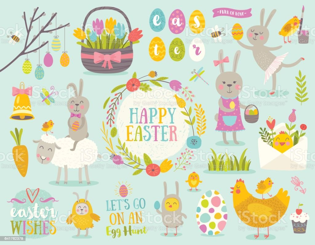 Set of cute Easter cartoon characters and design elements vector art illustration