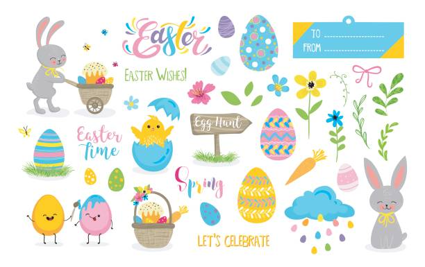 Set of cute Easter cartoon characters and scrapbooking elements. vector art illustration