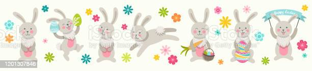 Set of cute easter cartoon characters rabbits and design elements vector id1201307846?b=1&k=6&m=1201307846&s=612x612&h=f pryfkifirltkmawsf3c5ynxrloxfm nkkymly2p40=