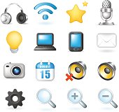 Set of Cute Elegant Multimedia and Interface Icons on White Background