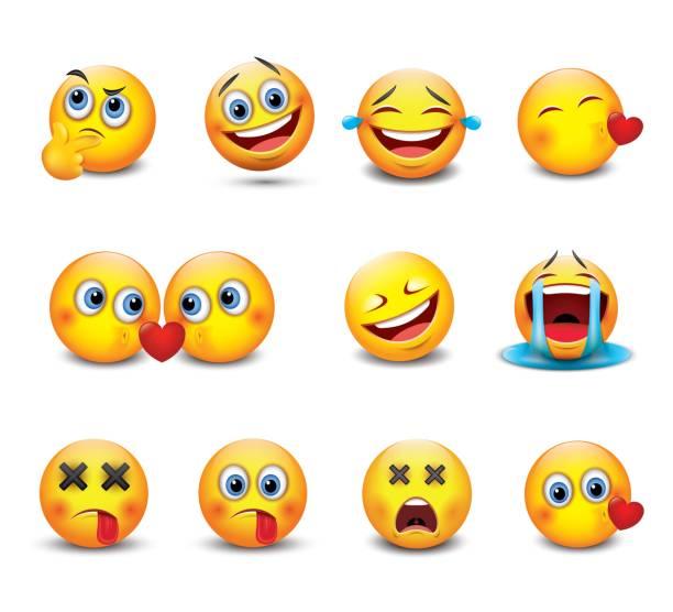 set of cute emoticons, emoji - isolated vector illustrations - kiss stock illustrations