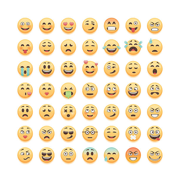 Groupe de mignon émoticônes seul sur fond blanc, illustration vectorielle. - Illustration vectorielle