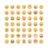 Set of cute emoticons isolated on white background, vector illustration.