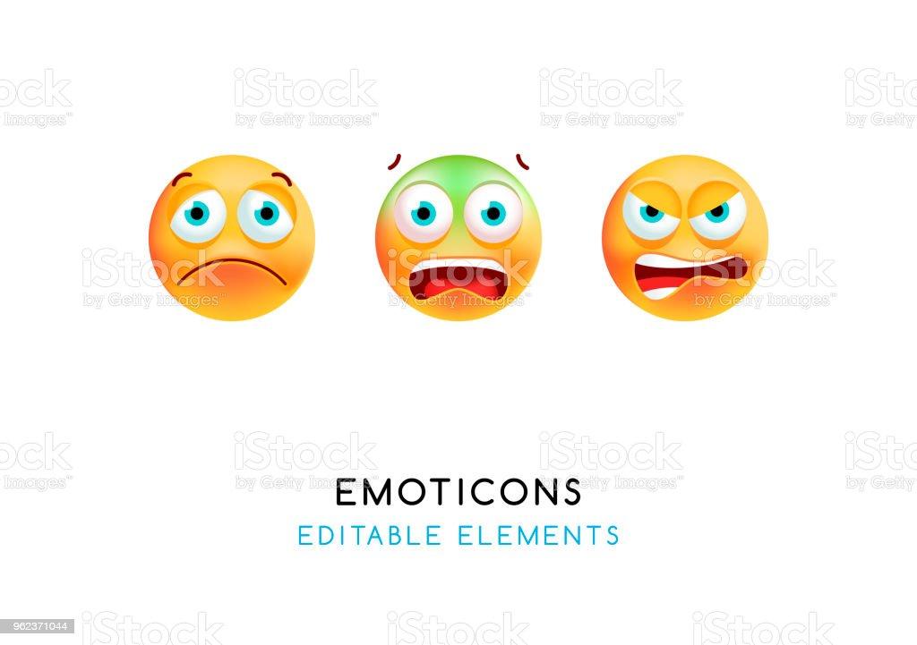 Ensemble d'émoticônes mignon sur fond blanc. Illustration vectorielle isolé - Illustration vectorielle