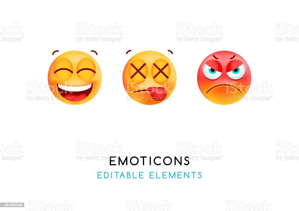 Set van leuke Emoticons op witte achtergrond. Geïsoleerde vectorillustratie - Royalty-free Avatar vectorkunst