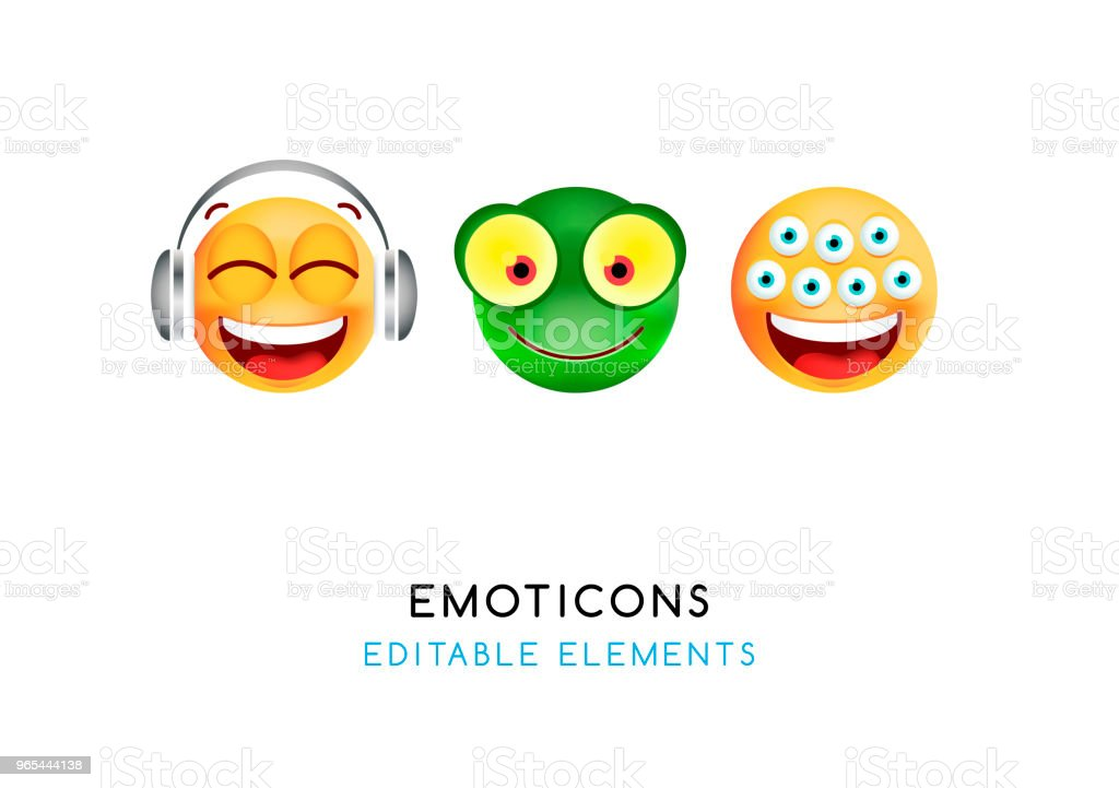 Set of Cute Emoticons on White Background . Isolated Vector Illustration royalty-free set of cute emoticons on white background isolated vector illustration stock vector art & more images of animal