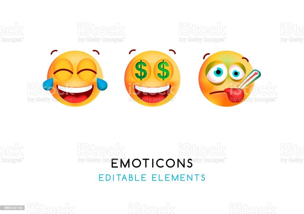 Set of Cute Emoticons on White Background . Isolated Vector Illustration set of cute emoticons on white background isolated vector illustration - stockowe grafiki wektorowe i więcej obrazów aplikacja mobilna royalty-free