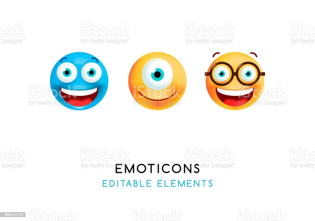 Set of Cute Emoticons on White Background . Isolated Vector Illustration set of cute emoticons on white background isolated vector illustration - stockowe grafiki wektorowe i więcej obrazów białe tło royalty-free