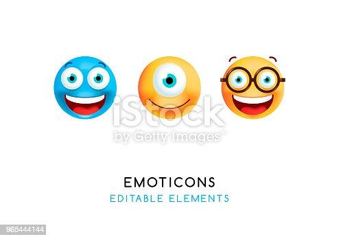 Set Of Cute Emoticons On White Background Isolated Vector Illustration - Stockowe grafiki wektorowe i więcej obrazów Białe tło 965444144