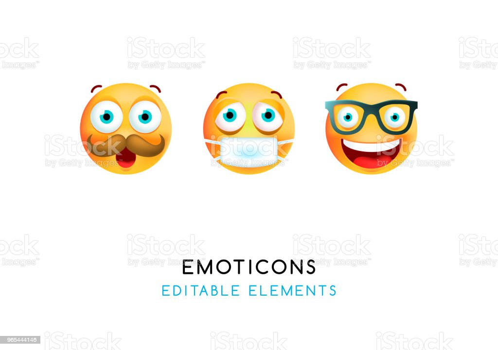 Set of Cute Emoticons on White Background . Isolated Vector Illustration royalty-free set of cute emoticons on white background isolated vector illustration stock vector art & more images of cartoon