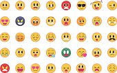 Set of cute emoticons (emoji)