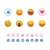 Set of detailed and cute emoticons with line art and solid versions included.