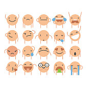 Vector illustration of a collection of cute and colorful emoticons