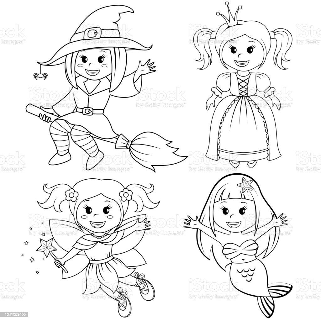 Ilustración De Juego De Chicas De Lindo Cuento De Hadas Bruja De Halloween Sirena Princesa Y Hada Ilustración De Vector De Blanco Y Negro Para