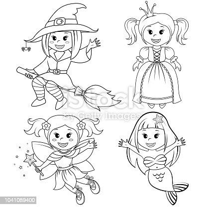 Ilustración de Juego De Chicas De Lindo Cuento De Hadas Bruja De ...