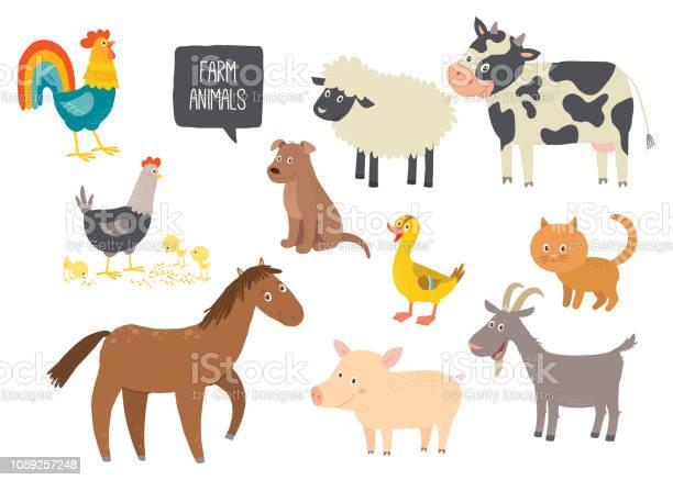 Set of cute farm animals horse cow sheep pig duck hen goat dog cat vector id1059257248?b=1&k=6&m=1059257248&s=612x612&h=g6c7 r35zwrhesubaoqbm2dmy230owlfoekaiht jog=