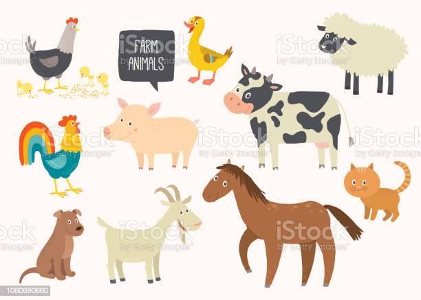 Set of cute farm animals horse cow sheep pig duck hen goat dog cat vector id1060690660?b=1&k=6&m=1060690660&s=612x612&h=x6rz3rpakpdua8tjijeoxsj6e4jcsdmysavtnbdr2iw=